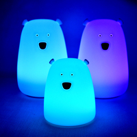 small funny color changing animal bear led night lights led bedside lamp children gift Touch Sensor battery lamp for kids