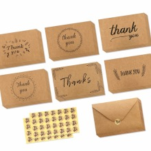 Pack Brown Kraft Paper Thank You Cards Thank U Thanksgiving Greeting Card W/ 36 Kraft Paper Envelopes and 36 Pcs Envelope Thank
