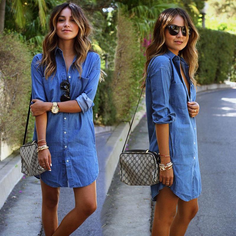 521a926f54da092 Хороший онлайн магазин: Осень стиль 2015 женщин джинсовое платье свободного  покроя с длинными рукавами широкий платья Большой размер vestidos  бесплатная ...
