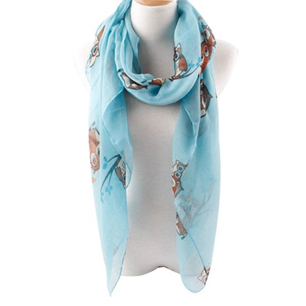 lady fashion beach long owl print scarf