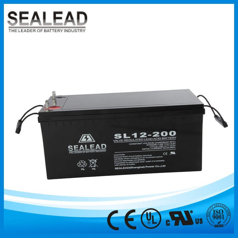 China manufacturer 12V 200Ah AGM deel cycle solar battery VRLA type for Inverter 12V 220V 5000W