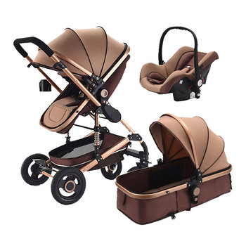 Baby Stroller 2018, Hot 3 in 1 travel system Baby Carriage with Bassinet Combo,Brown,Baby Bid Gift