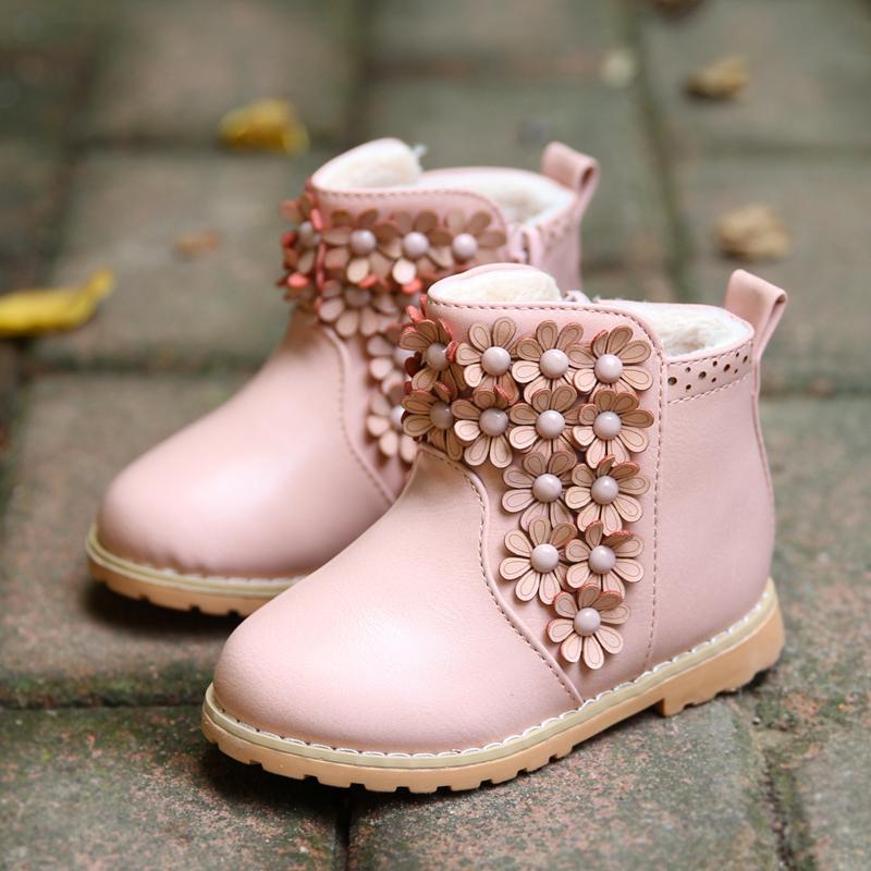 Winter Toddler Baby Boot Korean Flower Thicken Girl
