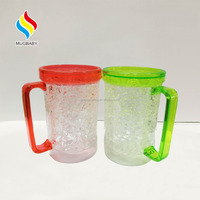 Plastic Double Wall Frosted Beer Mug Ice Cup, coffee or Gel mugs