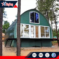 Low cost prefab camping cabin house/prefabricated light steel kit homes with dome roof