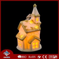 Wholesale ceramic house shaped LED handicrafts wall hangings