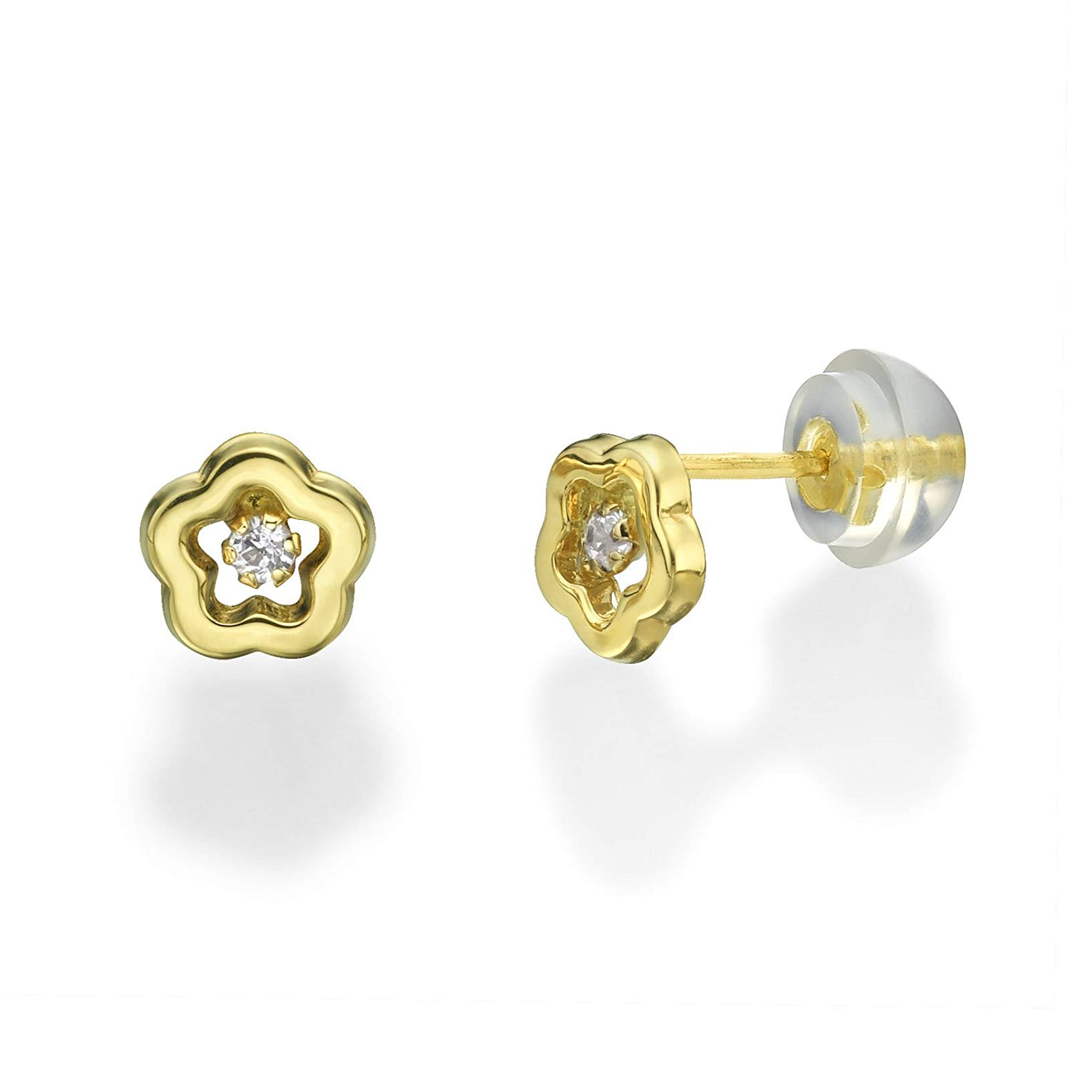 698ce4edf Get Quotations · 14K Yellow Gold Flower with Round cubic zirconia Screwback Stud  Earrings Children Jewelry Gift