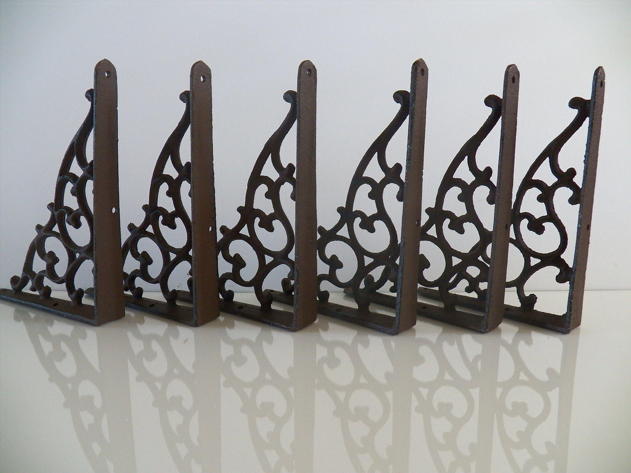 Antiques Set Of 4 Cast Iron Shelf Brackets New Antique Style