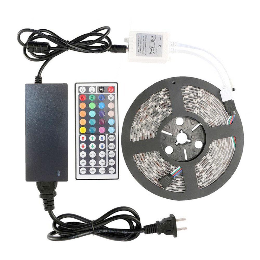 Shenzhen Led Lighting New Full Kit 5m 10m 5050 Rgb Strip Light Adapter 44 Key Remote