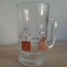 square and heart copper glass cup bottle neck wine charm