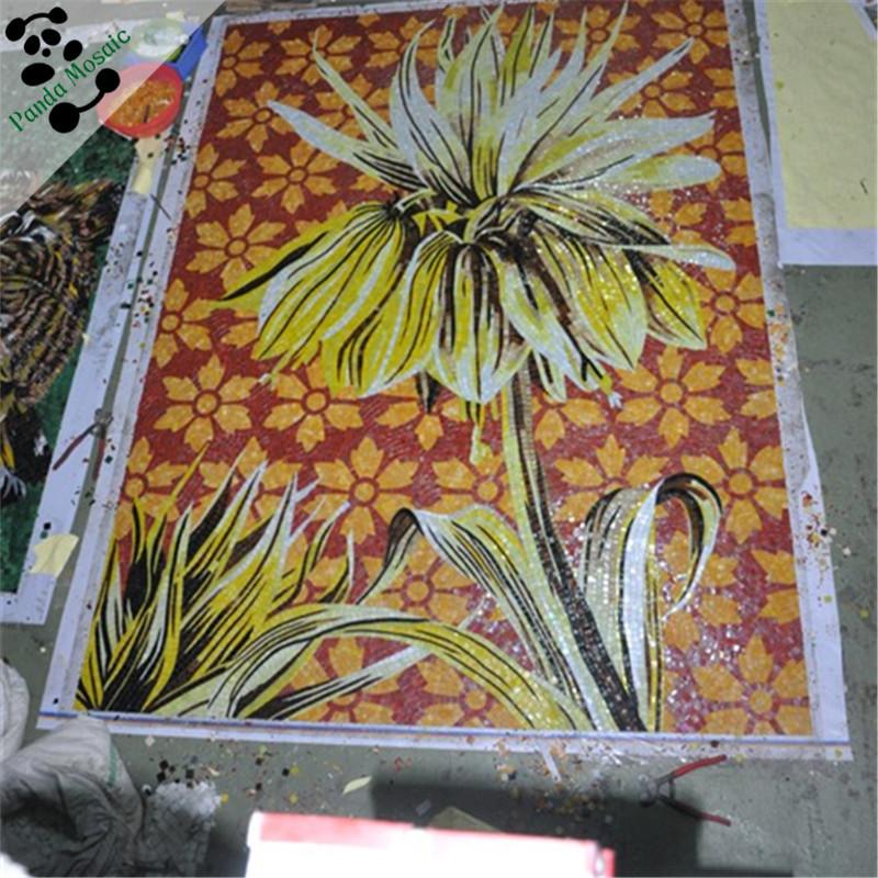 Mb smm22 handgemaakte rode moza ek glas schilderen ontwerpen van bloemen muur opknoping foto - Mozaiek ontwerp ...