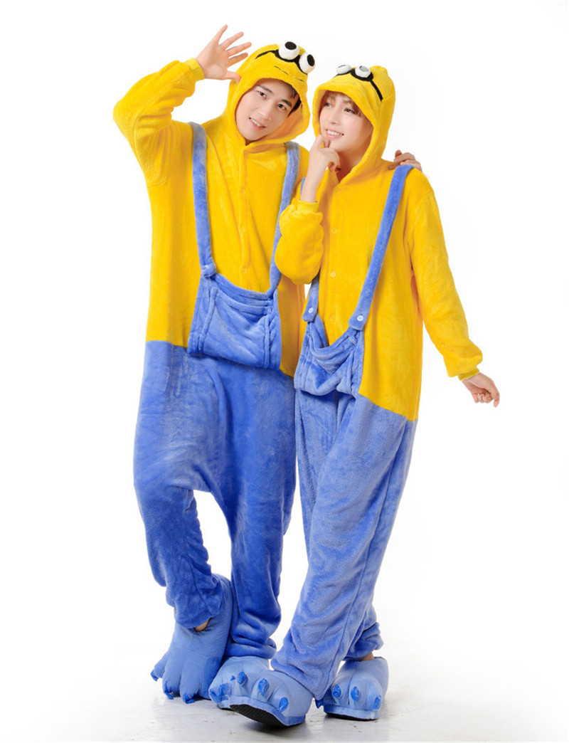 Get Quotations · Free Shipping Fashion Cartoon Pajamas Unisex Cosplay  Costumes Women Men Sleepwear Adult Despicable Me Minion Lovers 27973c1e3