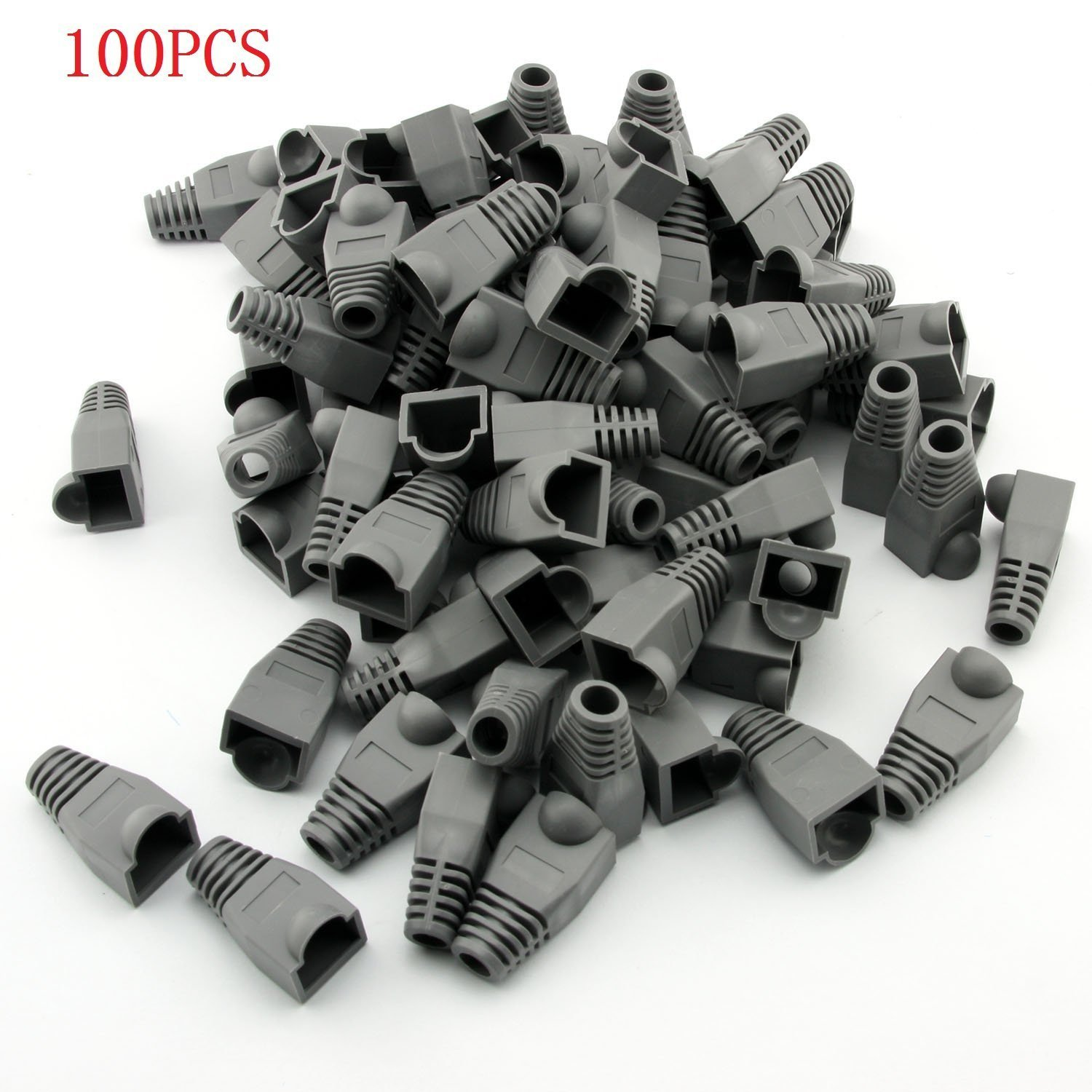 Gfortune 100pcs RJ45 Cat6 Cat5E Ethernet Cable Snagless End Boots Cap Connector Cover Modular (Gray)