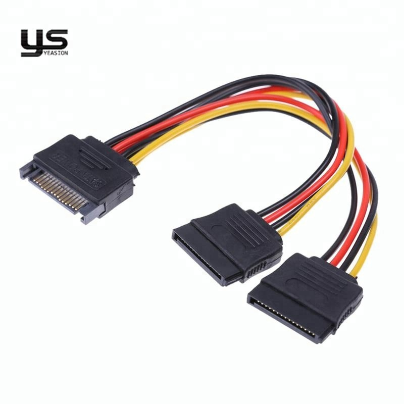 factory hot sale high quality PC Computer 15 pin male to 2 female sata power cable