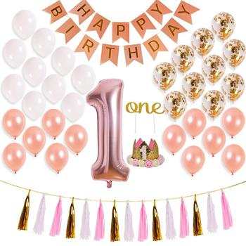 First Birthday Decorations For Girl 1st Baby Number Rose Gold Foil BalloonHappy Banner