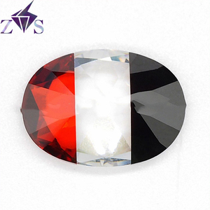 Wholesale New Product Multi-Color red and white and black Oval Cut Zircon Stones