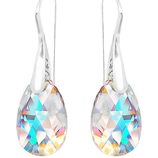 Crystal Aurora <strong>Drop</strong> <strong>Earrings</strong> 925 <strong>Sterling</strong> <strong>Silver</strong> Crystal From Swarovski Girls Hermosa Jewelry Amazon HOT