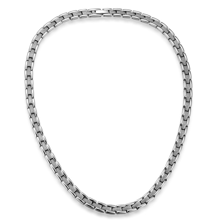 Classic Silver Tone Bracelet Necklace Stainless Steel Link Bio Magnet Stone Bracelet Necklace Jewelry Snake Style Chain