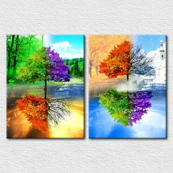 Decoration Colorful Natural Tree Canvas Painting For Kids Room