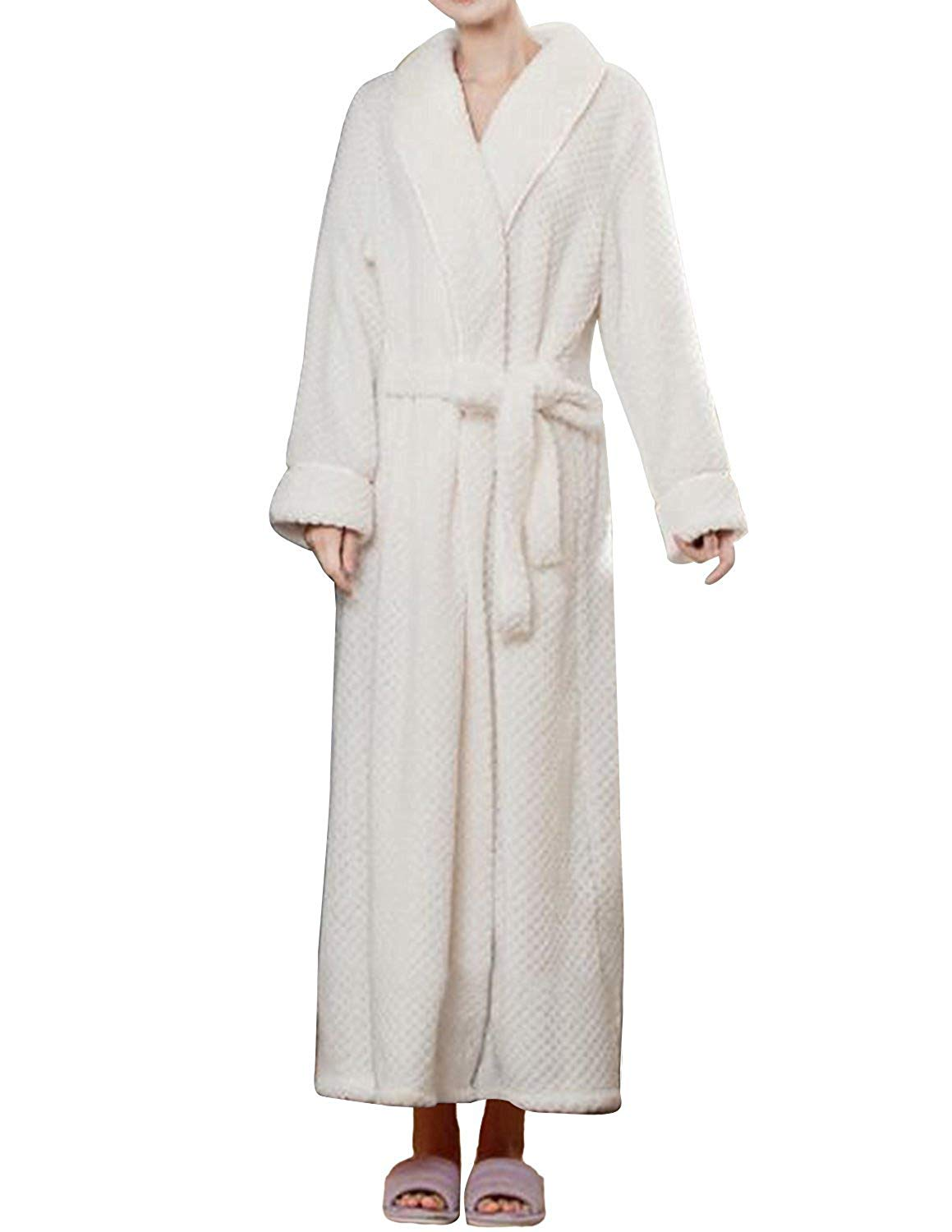 ea5f037bfc Get Quotations · 19V78 Women s Hooded Long Robes Nightwear Bathrobes Shawl  Collar Spa Kimono Full Length Soft Fleece