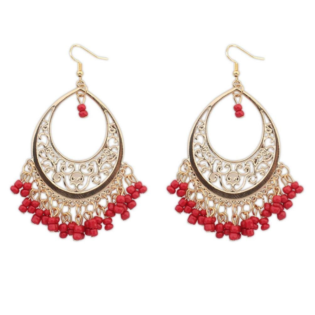 Clearance Deal! Hot Sale! Earring, Fitfulvan 2018 Bohemian Europe And The United States Ethnic Style Hollow Beaded Tassel Mother's Day Gifts Earrings Jewelry (Red)