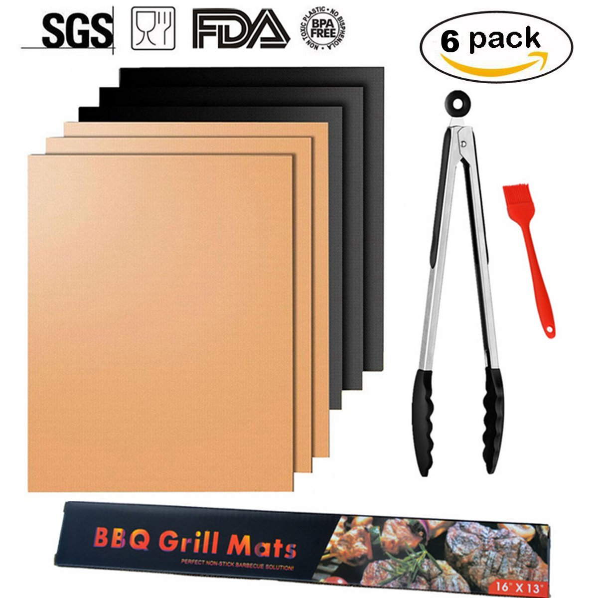 SMART HOME CHEF Copper Grill Mat Set of 6 - Non-stick BBQ Grill & Baking Mats - FDA Approved, PFOA Free, Golden Grill Mats & Bake Mats Reusable & Easy to Clean - grill mat serve kitchen & Outdoor (6)