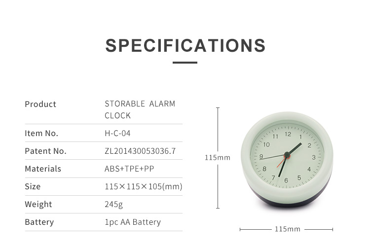 Modern Contrast Color AA Battery Storage Table Alarm Clock