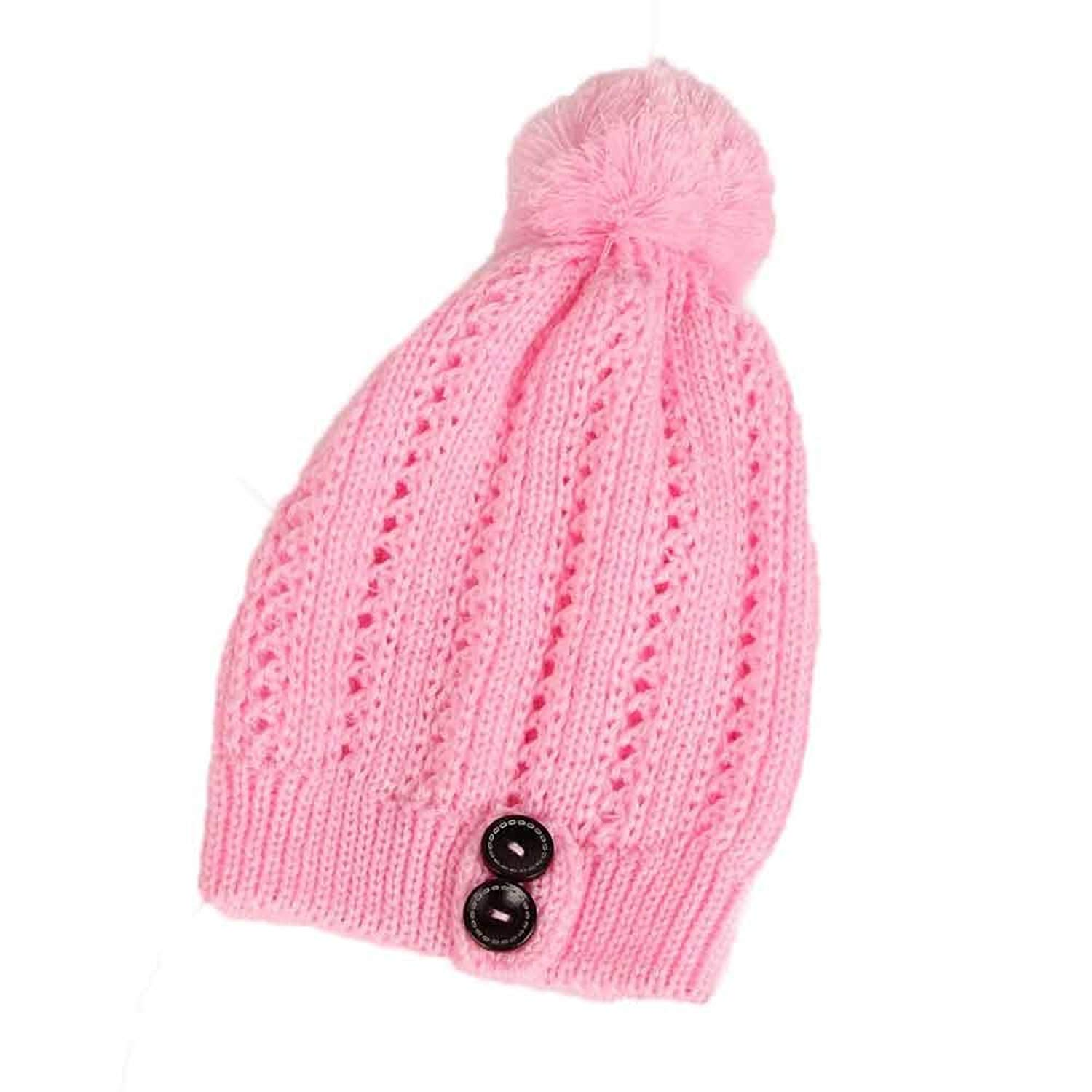 Slouch Beanie, Forthery Women Button Ski Wool Baggy Hat Skull Beanie Slouchy Knit Cap