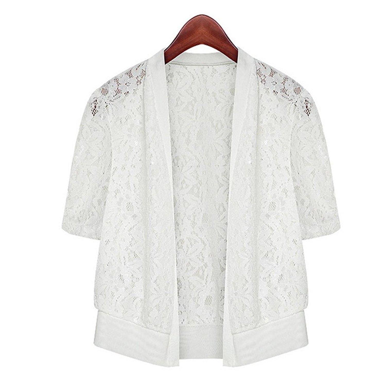 8662c7eaad Sheicon Women Lace Mesh Short Sleeve Cardigan Shrug Cover Up Summer Wrap  Shawls Clothing, ...