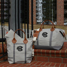 wholesale Monogrammed Zippered Top Canvas Boat Tote bag
