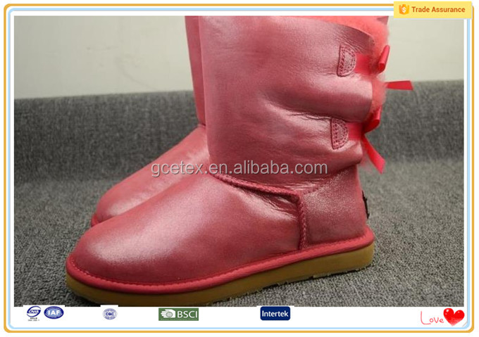 Pink PU los angeles marketing plush boots
