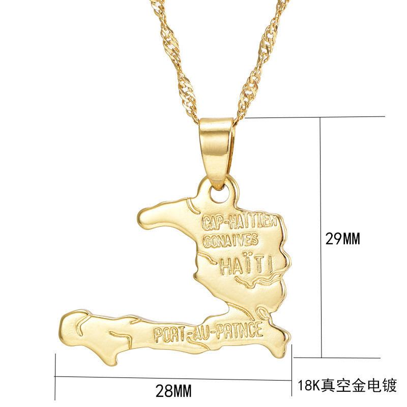 Hot Africa Map Gold Necklace 18k Gold Plated Haiti Map Pendant Necklace for Men Women Wholesale Customizable Pendant Necklace