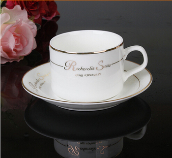 New Bone China Silver Rim Ceramic Coffee Cup Set with Saucer