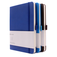 A5 hot sale perfect binding hardcover leather note book with pen loop