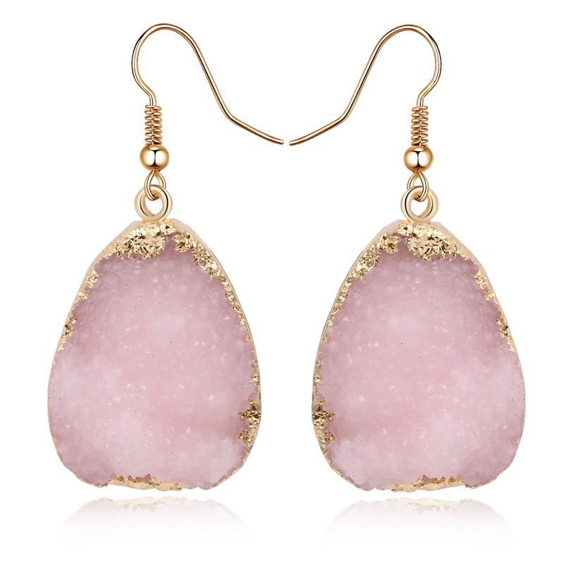 Free shipping druzy resin earrings wedding pink bridal drop earrings