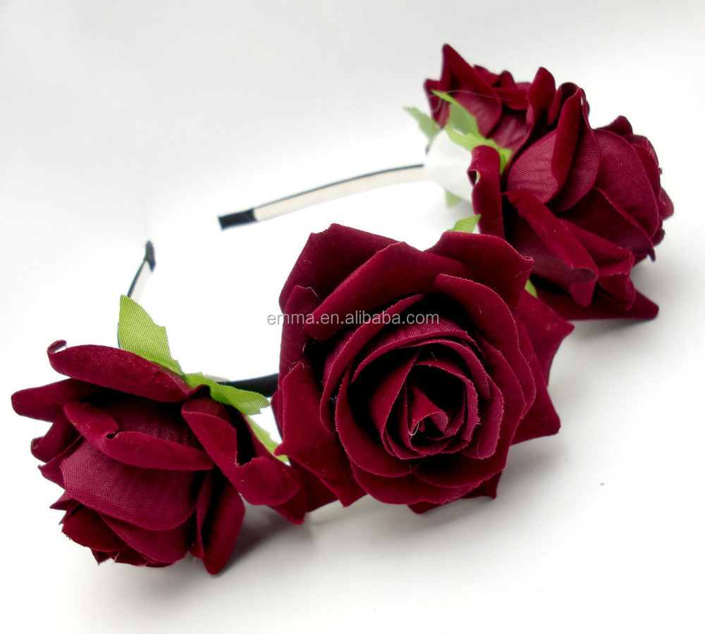 Beautiful Headband Flower Crowndeep Red Flower Headbandfabric