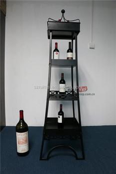 Floor Standing 4 Tiers Eiffel Tower Metal Wine Shelf Rack