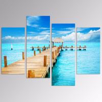 5 Panels Sunny Blue Seascape Wall Art/Wooden Bridge on Sea Canvas Print/Beach Canvas Wall Art