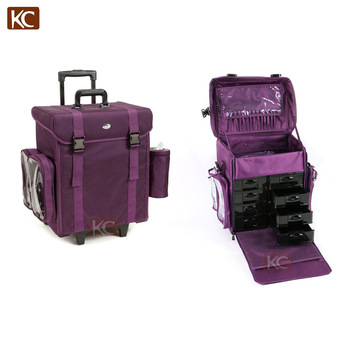 Hair Canvas Nylon Trolley Travel Train Cosmetic Rolling Tool Case Styling Makeup Tools
