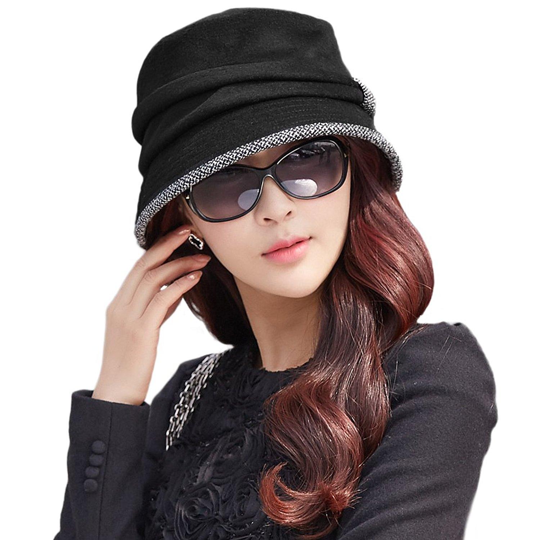 3e7960b0f19ba Get Quotations · Siggi Ladies Wool Cloche Hats Winter Bucket Hat 1920s  Vintage Derby Hat Foldable