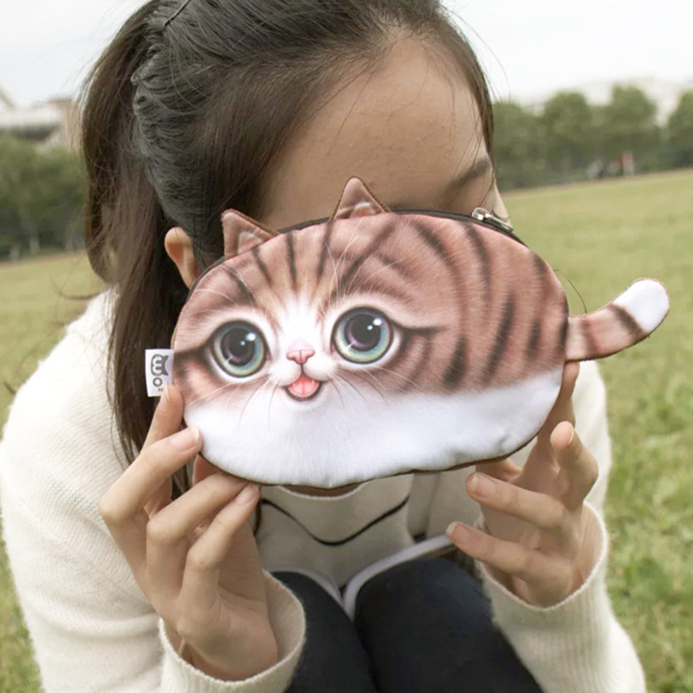 3D Cat Face Coin Purse Wallet Cute Mini Bag Small Animal Shaped Bag
