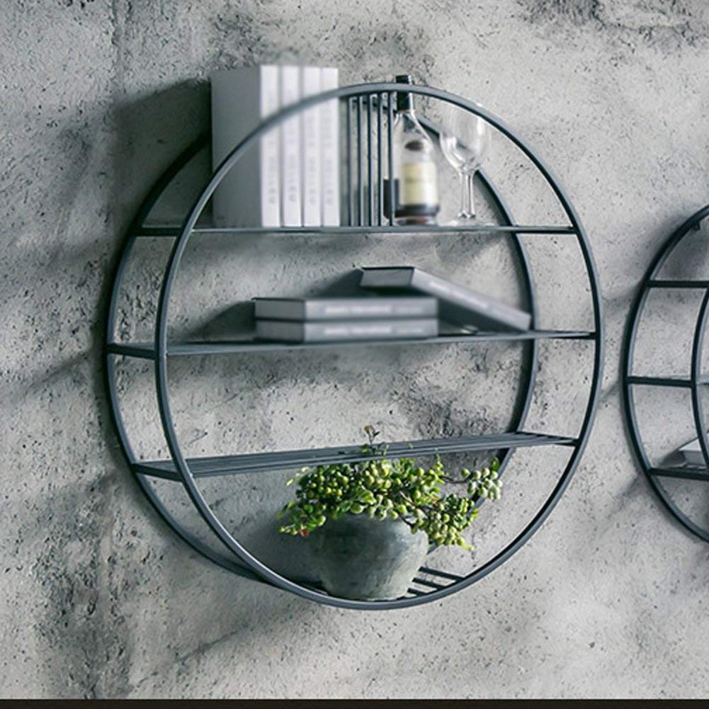 LQQGXL Storage and organization Nordic Living Room Bedroom Iron Wall Bookshelf Wall-mounted Round Wall Hanging Restaurant Decoration Frame (70 cm)