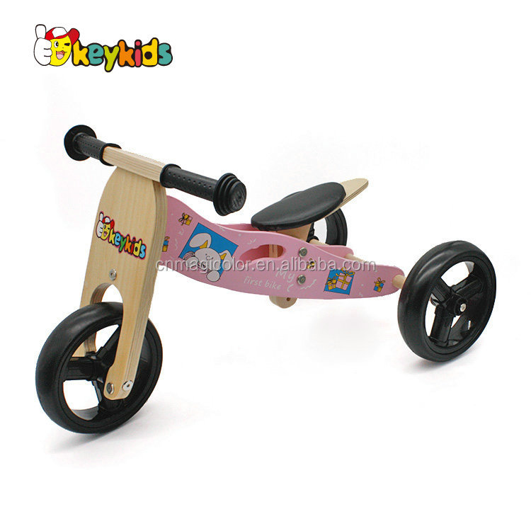 Wholesale lovely pink wooden 2 in 1 toddler outdoor balance bike help kids riding W16C098-B