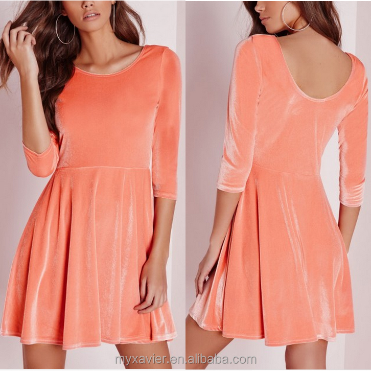 3/4 sleeve velvet skater dress orange color velvet dress women high waist plain dress design Dongguan manufacturer