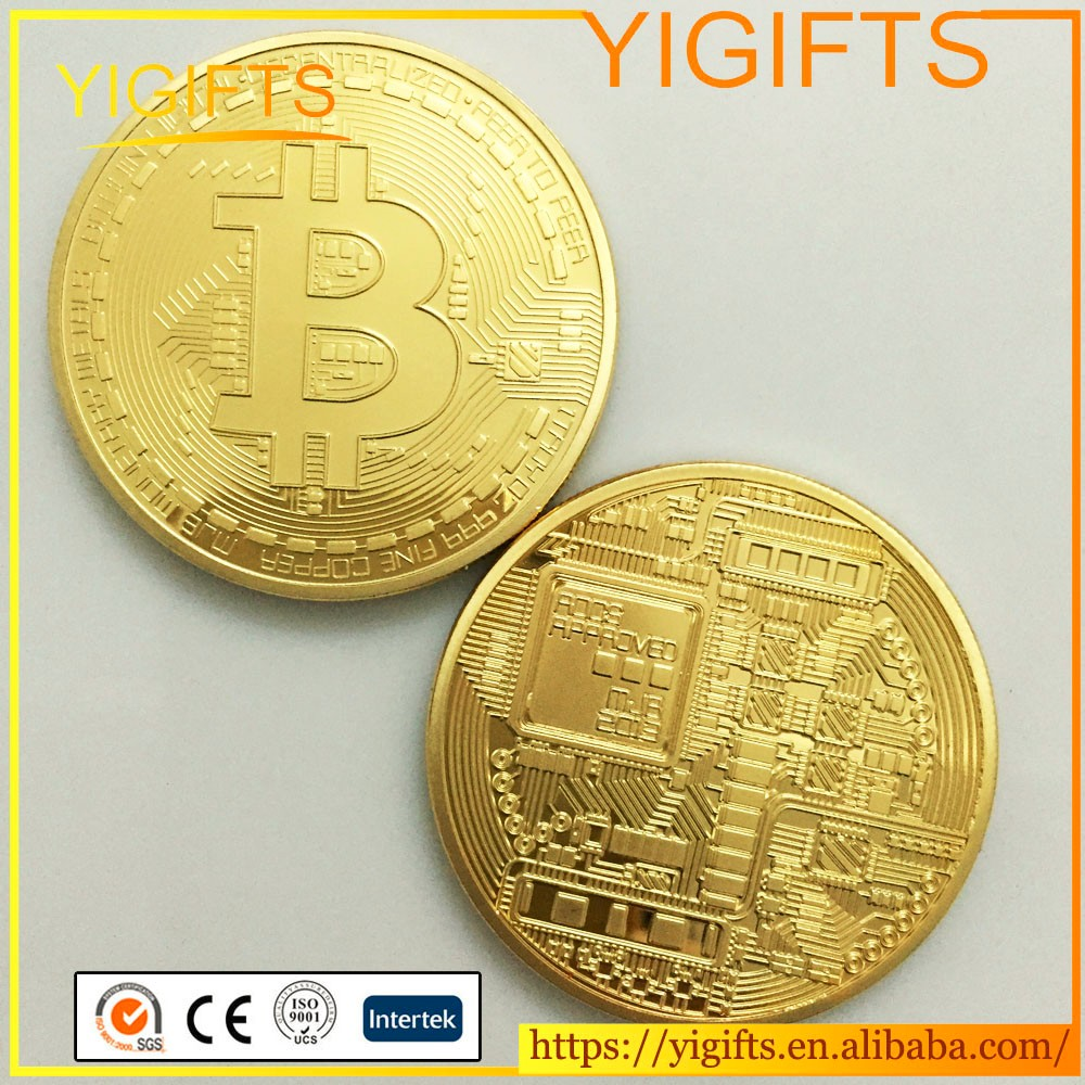 Reasonable Price Made In China high quality Gold plated bitcoin round metal replica coin