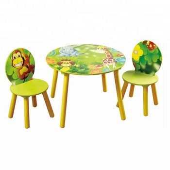 Toffy Friends Wooden Kids Round Table And Chair Set With Jungle Design Mdf Study Chairs Children