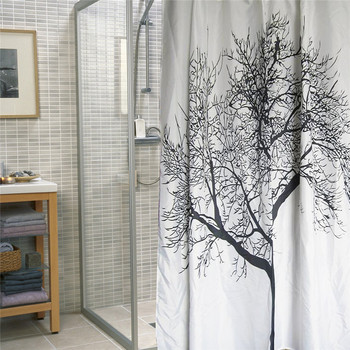 Waterproof Fabric Shower Curtain Liner With Tree Design Black And White
