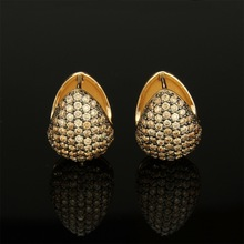 Water drop type multicolor zircon copper ear studs sell well in gold-plated and platinum-plated fashion accessories