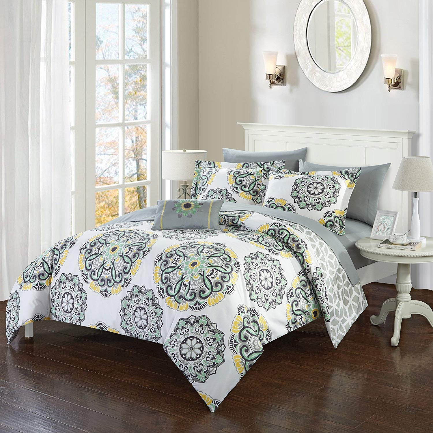 8 Piece Yellow Blue Grey Medallion Floral Pattern Comforter with Sheets Queen Set, Large Scale Mandala Motif Design, Geometric Print Reversible Bedding, Features Soft & Warmth, Microfiber, Polyester