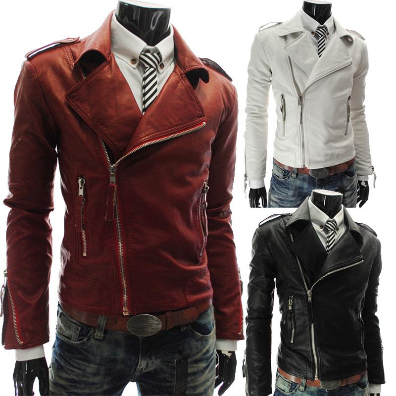 Compra chaquetas de cuero hombres bombardero online al por